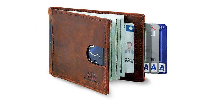 Leather Bifold Credit Card Holder Case Slim Thin Front Pocket ID Window Unisex
