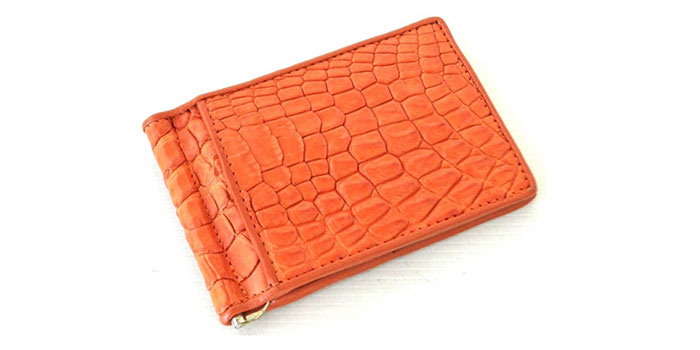Authentic-M-Crocodile-Skin-Money-Clip-Wallet