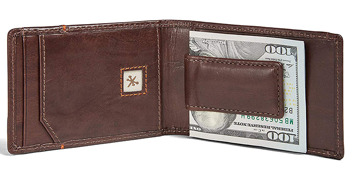 d31811b28e39 This wallet is an original twist to the traditional money clip wallet. It  is handcrafted from full grain leather which is one of the most durable  types of ...