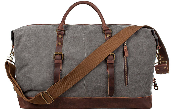 S Zone Leather Trim Weekend Bag
