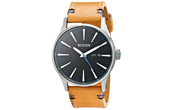 Nixon-Sentry-Leather-Watch